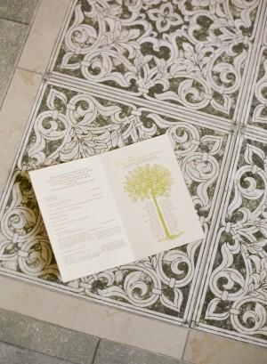 Ceremony Program With Tree Letterpress