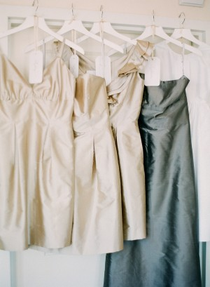 Champagne Colored and Blue Gray Bridesmaids Dresses