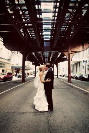 Chicago El Wedding Portrait