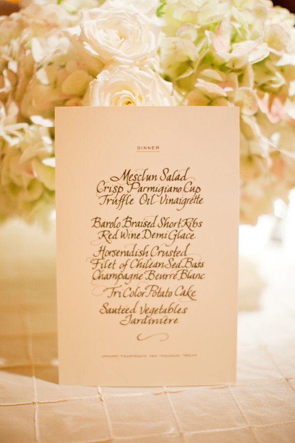 Clasic Black and White Calligraphy Wedding Menu