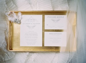 Classic Silver and Cream Wedding Stationery on Gold Tray