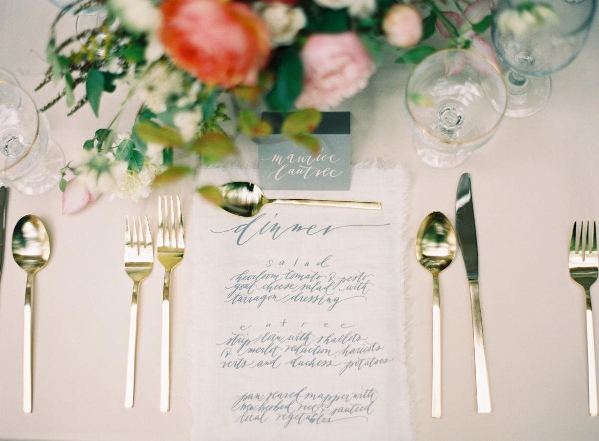 Elegant Calligraphy Reception Menu Card