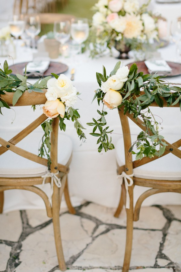 Floral Garland Bride and Groom Chairs
