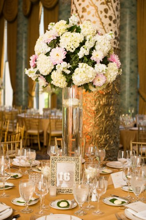 Flower and Greenery Arrangement in Tall Clear Vase