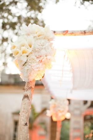 Flowers and Birch Wedding Ceremony Arch