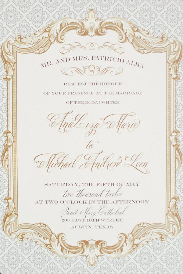 Formal Gold Wedding Invitation - Elizabeth Anne Designs: The Wedding ...