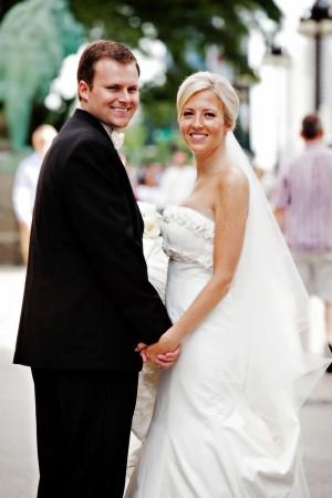 Ruffled Neckline Wedding Gown