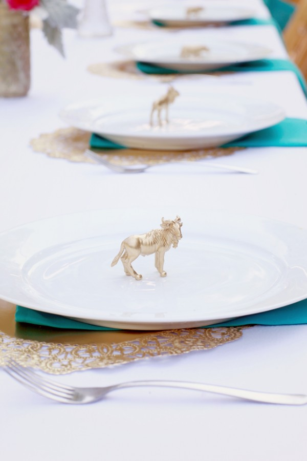 Gold Animal Figurines on Reception Place Settings