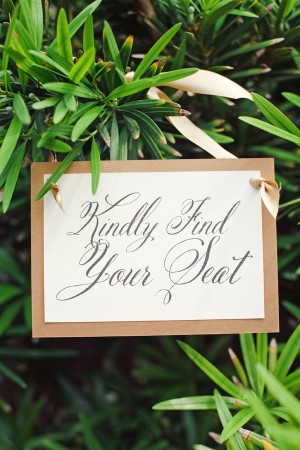 Gold Trimmed Place Card Sign in Greenery