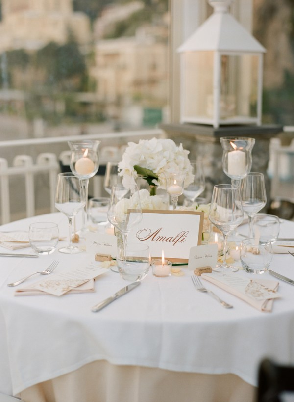 Gold and white reception table setting 1 elizabeth anne for Wedding table settings