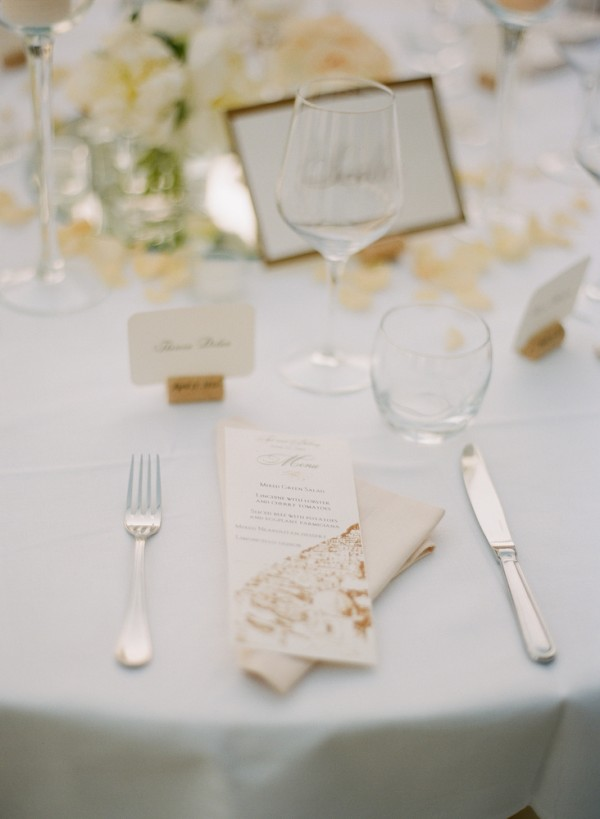 Gold and White Reception Table Setting