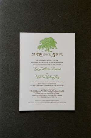 Green and Brown Letterpress Wedding Invitation