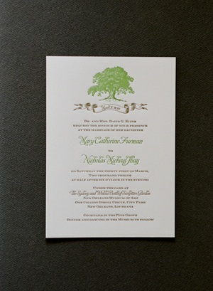 Green and Brown Letterpress Wedding Invitation1