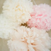 Hanging Pink Tissue Flowers