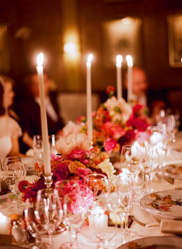 Jewel Tone Rose Garland Reception Table Decor