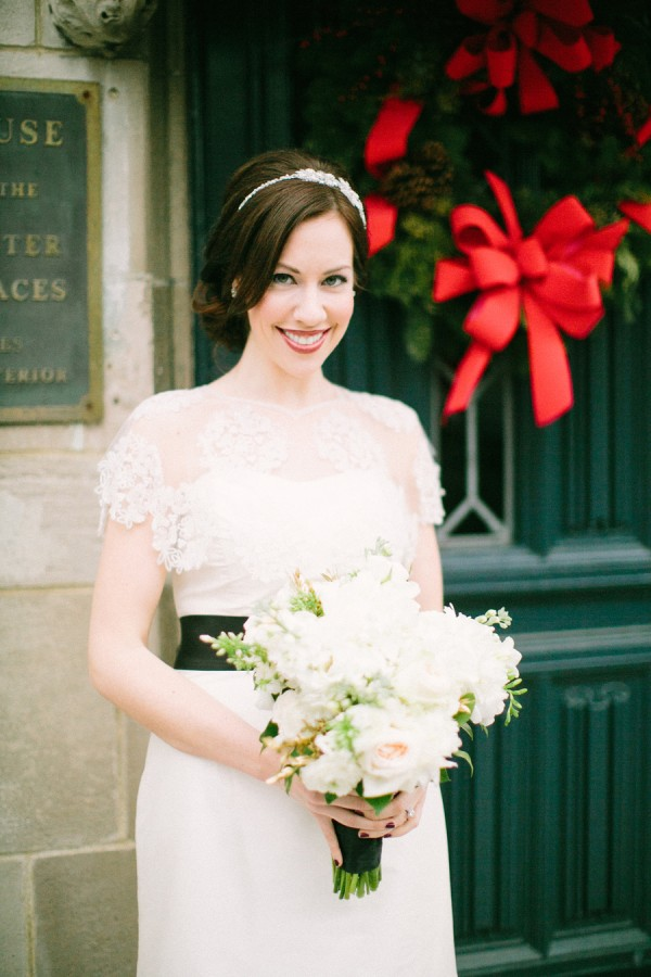 Lace Wedding Dress With Black Sash Elizabeth Anne Designs The