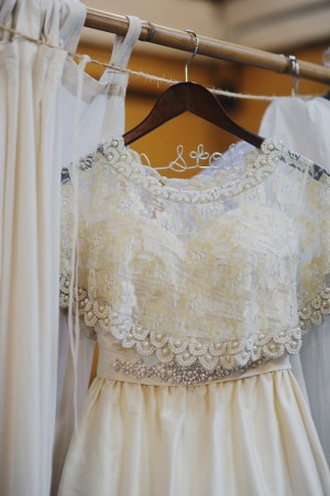 Lace Wedding Gown on Monogrammed Hanger