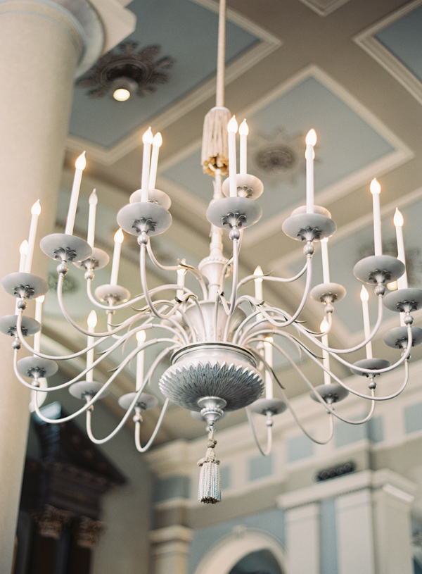 Light Blue and Cream Chandelier