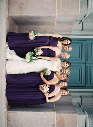 Long Strapless Eggplant Colored Bridesmaids Dresses