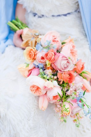 Loose Peach Pink And Blue Bouquet