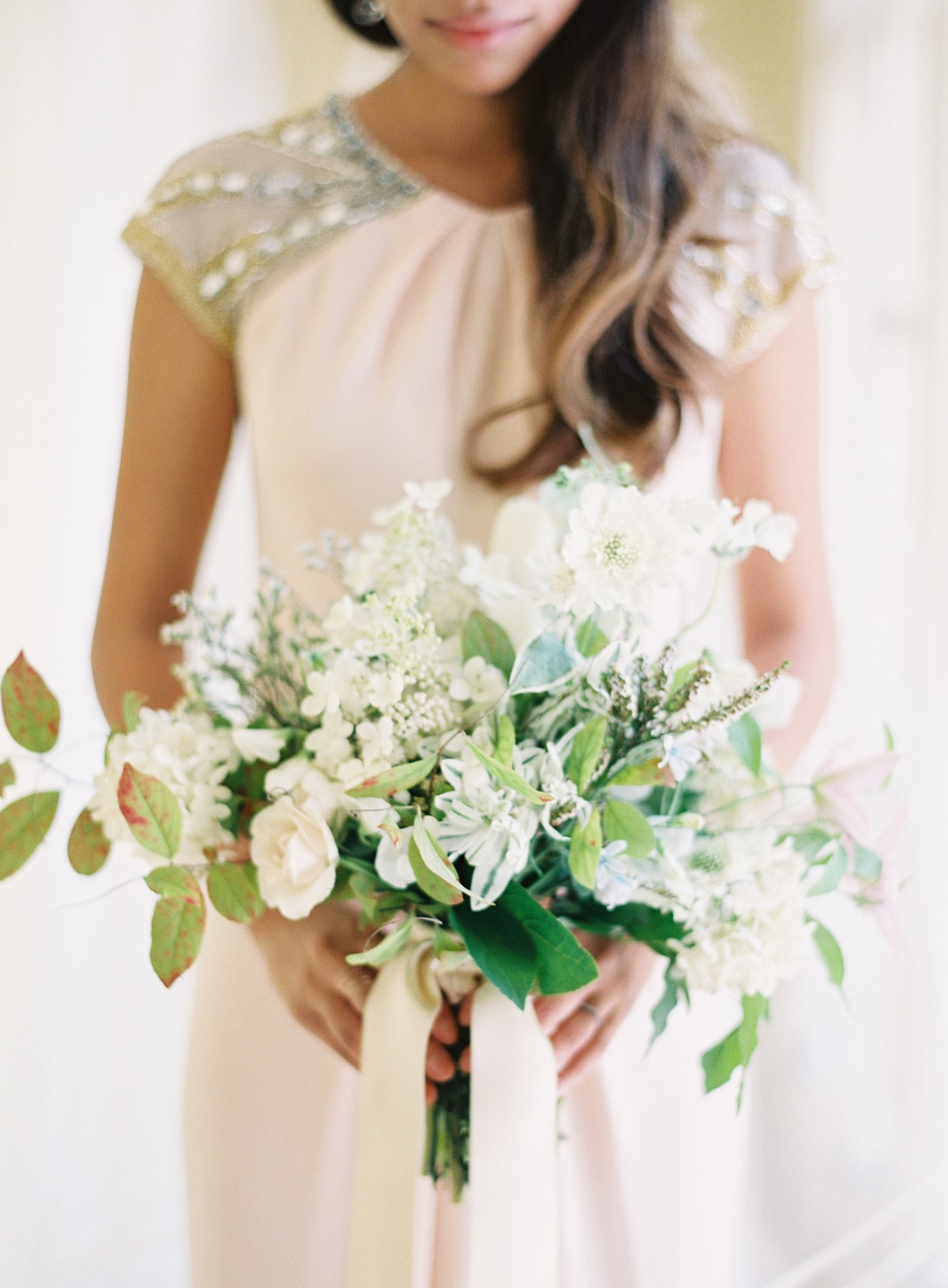 Loose White And Green Bridal Bouquet 2
