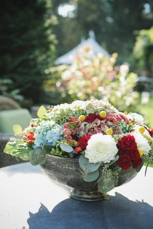 Lush Floral Arrangement in Silver Bowl