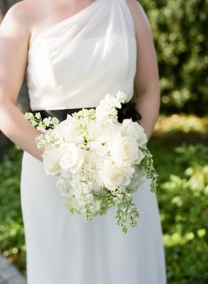 One Shoulder White Bridesmaids Dress With Black Sash