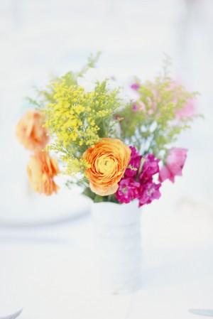 Orange Purple and Yellow Flowers in Vase