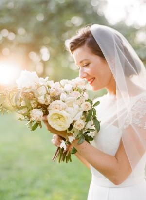 Pale Bridal Bouquet With Greenery
