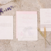Pale Pink and White Wedding Invitation Suite