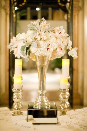 Peach Pink and Cream Arrangement in Silver Trumpet Vase