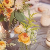 Peach Rose and Greenery Reception Arrangements