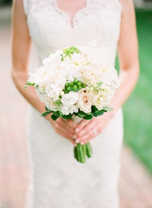 Peach and White Bouquet With Green Berries