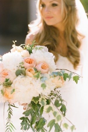 Peach and White Peony Bouquet 1