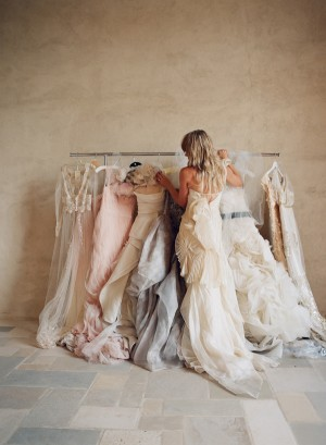 Pink Cream and Gray Vintage Gowns