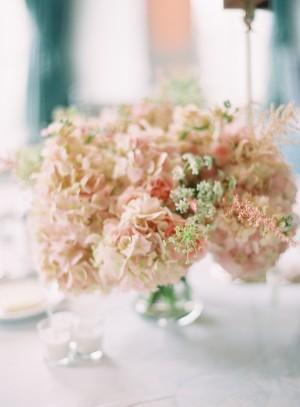 Pink Hydrangeas in Glass Vase