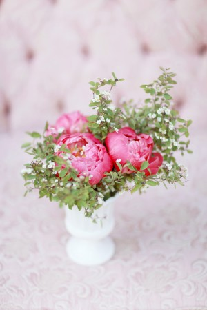 Pink Ranunculus and Greenery in White Vase