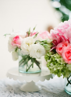 Pink White and Green Flower Arrangements