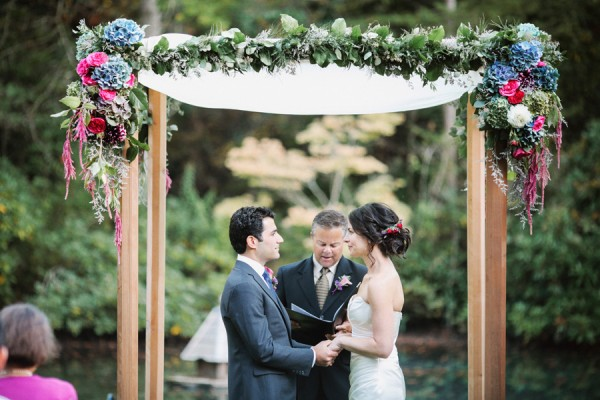 Pink and Blue Outdoor Wedding Ceremony