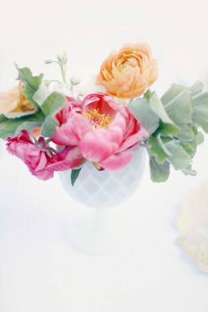 Pink and Orange Flowers in White Vase