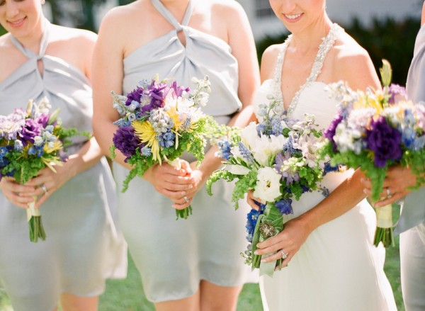 Purple Blue and Yellow Wildflower Bouquets