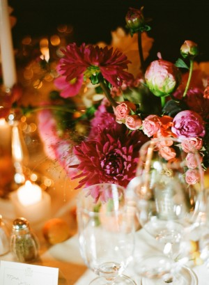 Purple Dahlia and Rose Arrangement