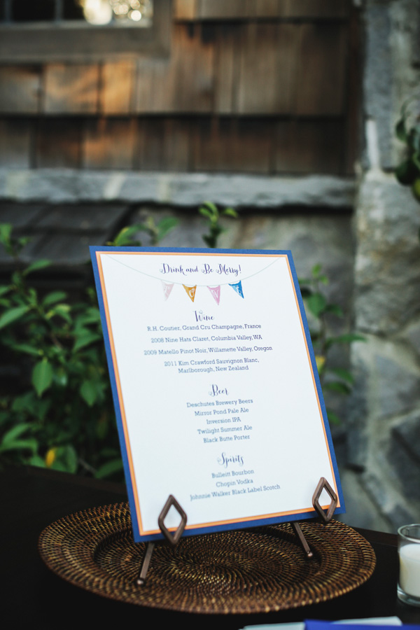 Reception Menu Card With Pendant Motif