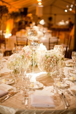 Rose and Hydrangea Centerpieces With Mercury Glass