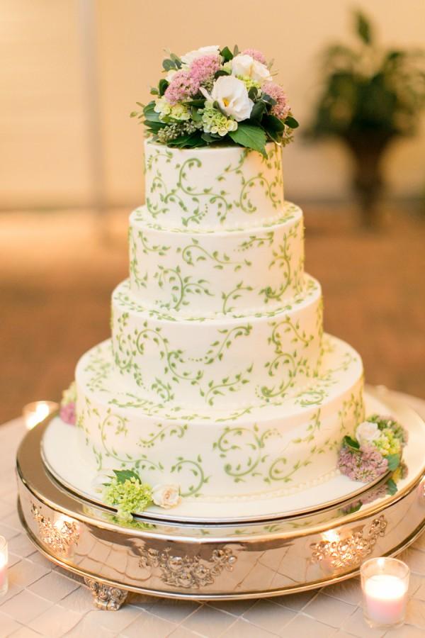 Round Tiered Wedding Cake With Green Vine Detailing - Elizabeth Anne ...