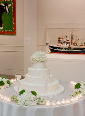 Round Tiered Wedding Cake With Hydrangeas