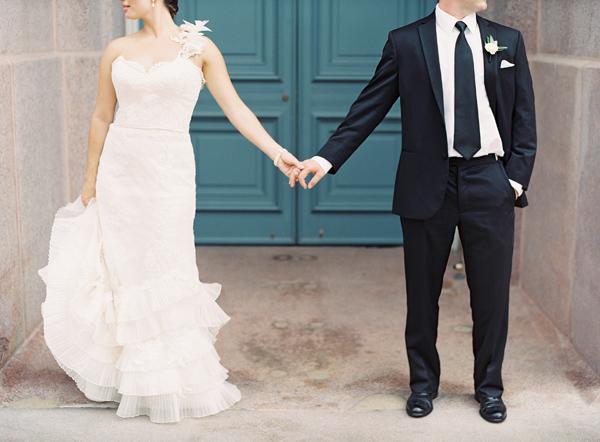 Ruffled One Shoulder Wedding Gown