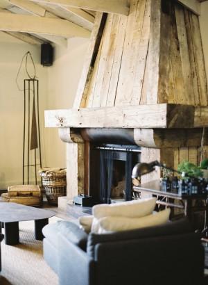 Rustic Fireplace in California Lodge