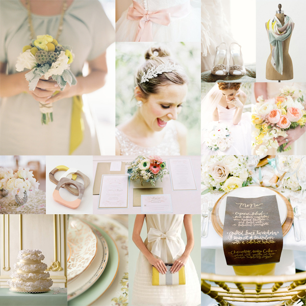 Salmon Yellow Mint Wedding Colors