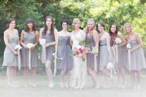 Short Charcoal Gray Bridesmaids Dresses